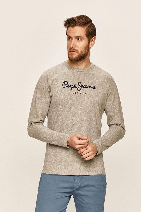 sivá Pepe Jeans - Pánske tričko s dlhým rukávom Pánsky