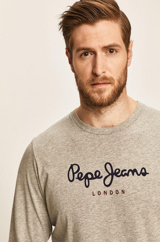 sivá Pepe Jeans - Pánske tričko s dlhým rukávom