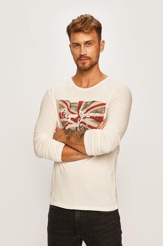 bílá Pepe Jeans - Tričko s dlouhým rukávem Pánský