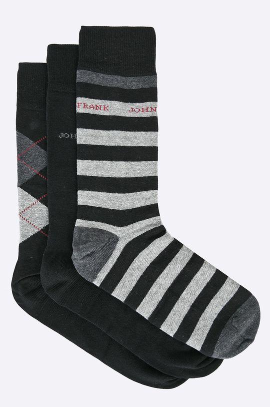 čierna John Frank - Ponožky (3-pak) Pánsky