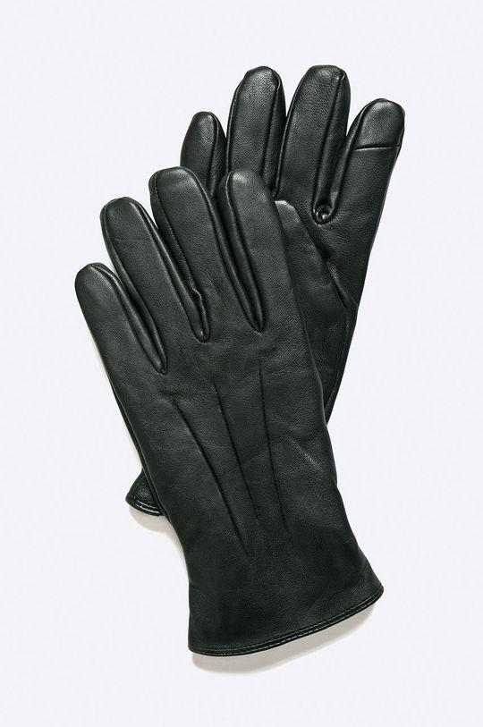 černá Jack & Jones - Kožené rukavice Pánský