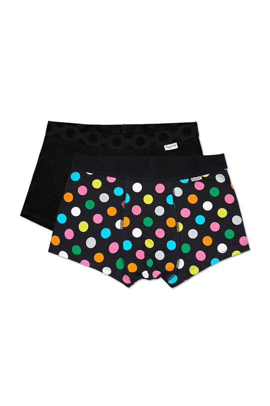 czarny Happy Socks - Bokserki Big Dot (2-pak) Męski