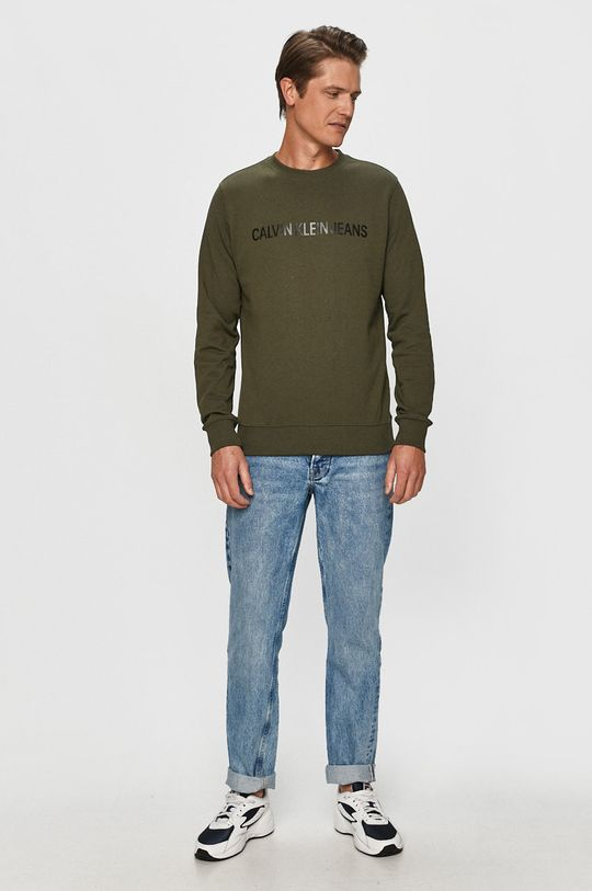Calvin Klein Jeans - Бавовняна кофта оливковий