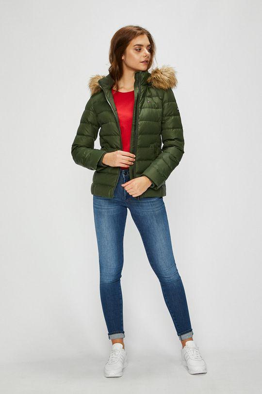 Tommy Jeans - Péřová bunda olivová