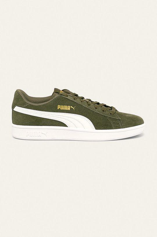 svetlá olivová Puma - Kožená obuv Smash v2 Pánsky