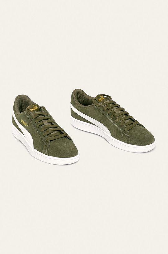 Puma - Kožená obuv Smash v2 svetlá olivová