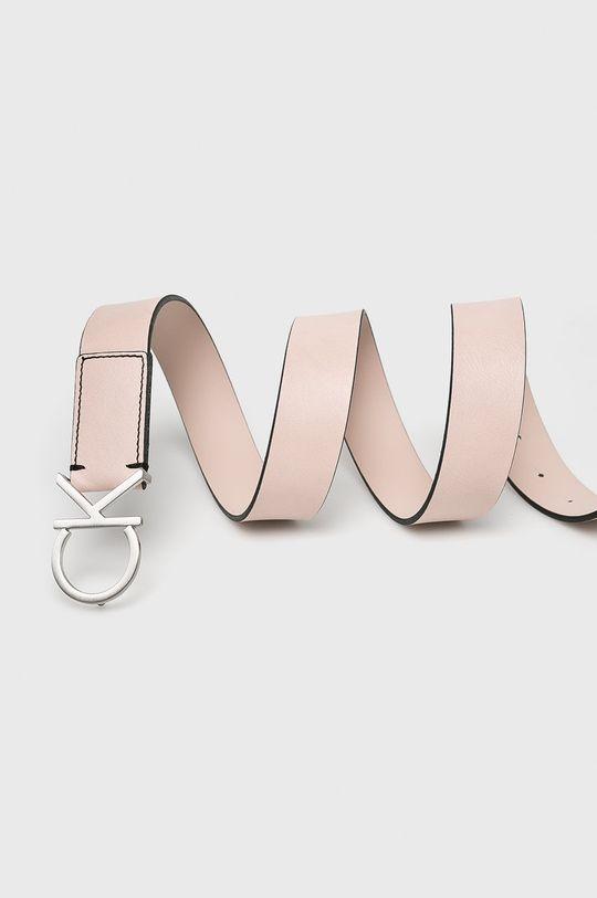 Calvin Klein - Kožený pásek pastelově růžová