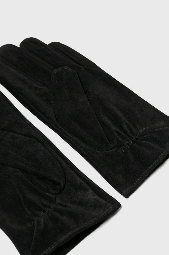 Pieces - Kožené rukavice černá