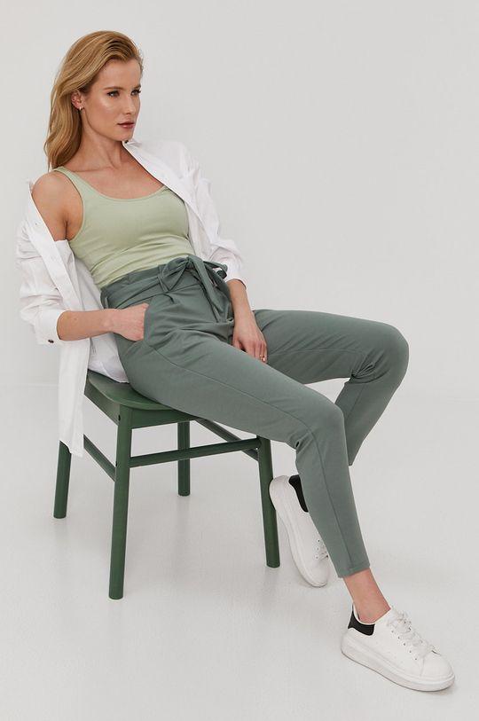 Vero Moda - Nohavice oceľová zelená
