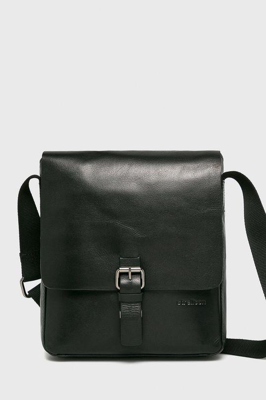 čierna Strellson - Kožená taška Pánsky