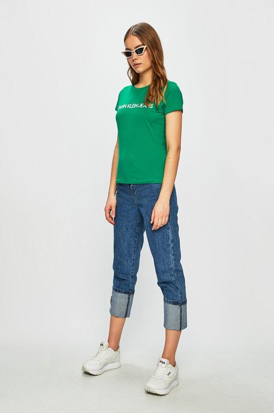 Calvin Klein Jeans - Top verde ascutit