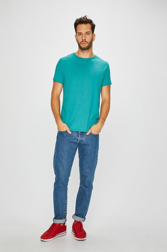 Tommy Jeans - T-shirt jasny turkusowy