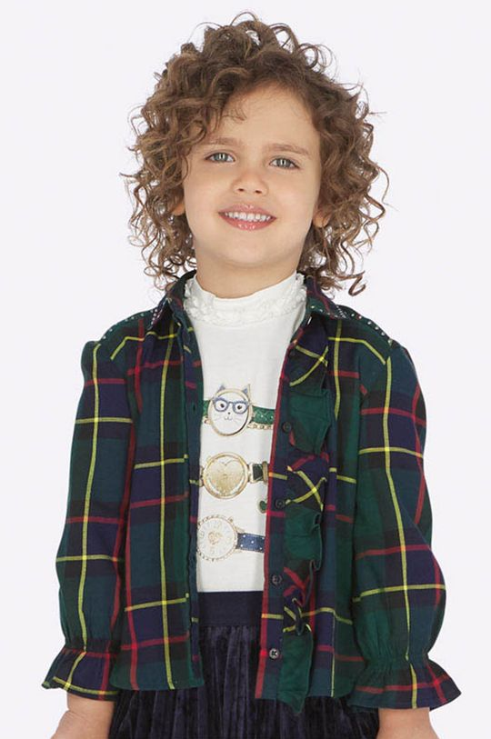 tmavozelená Mayoral - Detská košeľa 92-134 cm Dievčenský