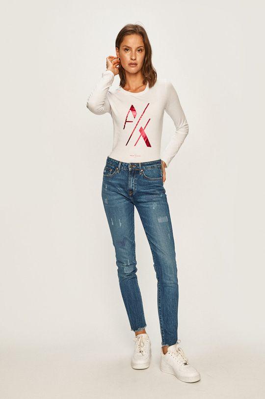 Armani Exchange - Tričko s dlhým rúkavom biela
