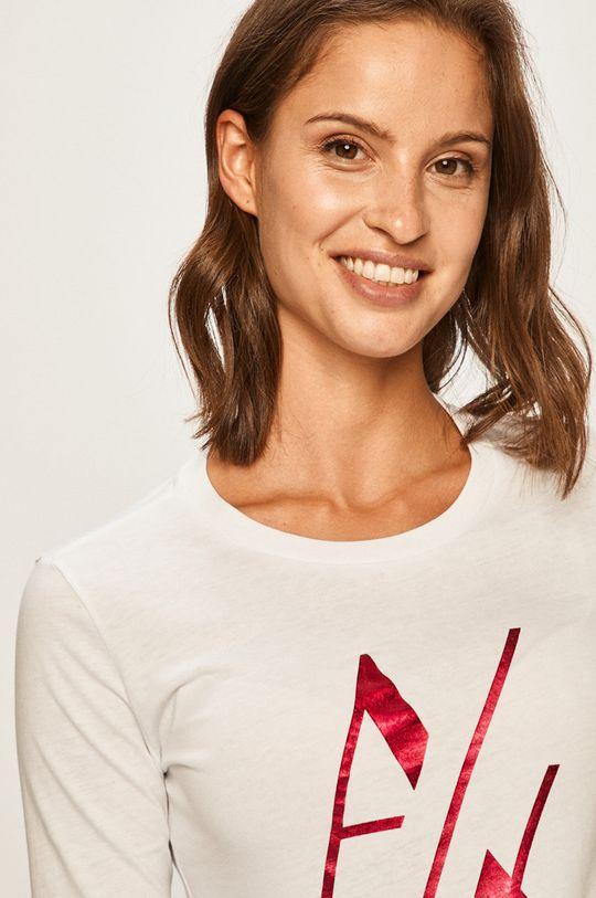 biela Armani Exchange - Tričko s dlhým rúkavom