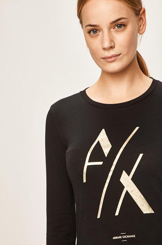 čierna Armani Exchange - Tričko s dlhým rúkavom
