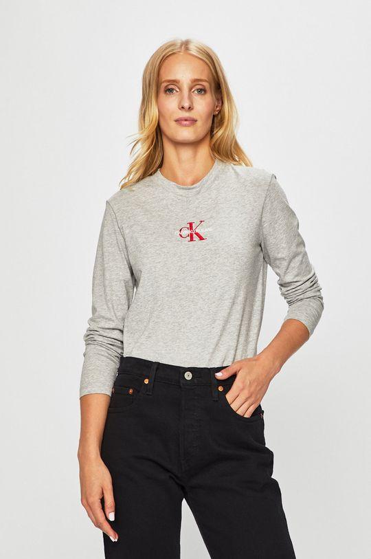šedá Calvin Klein Jeans - Tričko s dlouhým rukávem Dámský