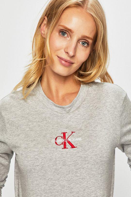 šedá Calvin Klein Jeans - Tričko s dlouhým rukávem
