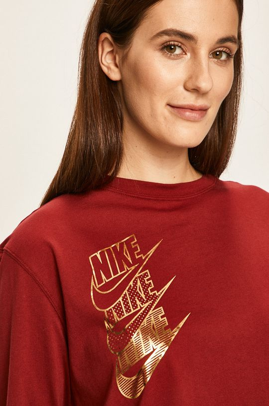 kaštanová Nike Sportswear - Tričko s dlouhým rukávem