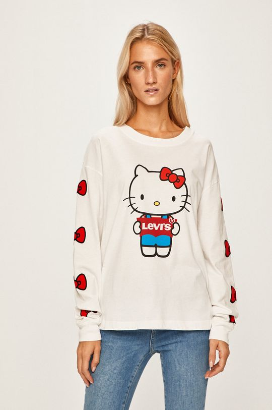 biela Levi's - Tričko s dlhým rúkavom x Hello Kitty Dámsky