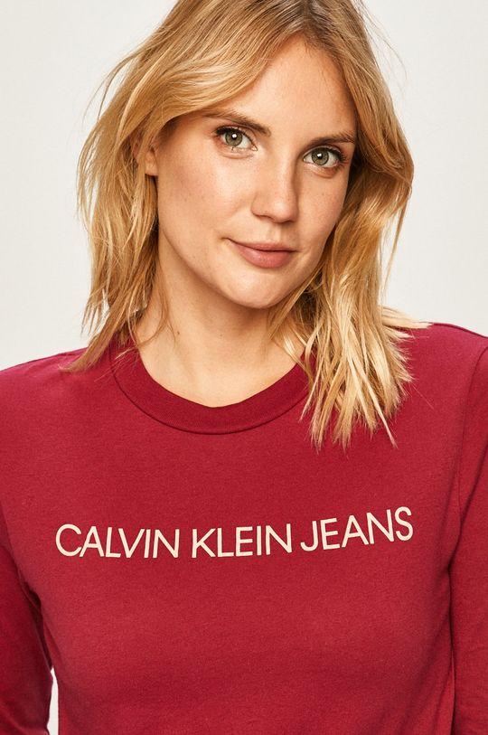 kaštanová Calvin Klein Jeans - Tričko s dlouhým rukávem Dámský