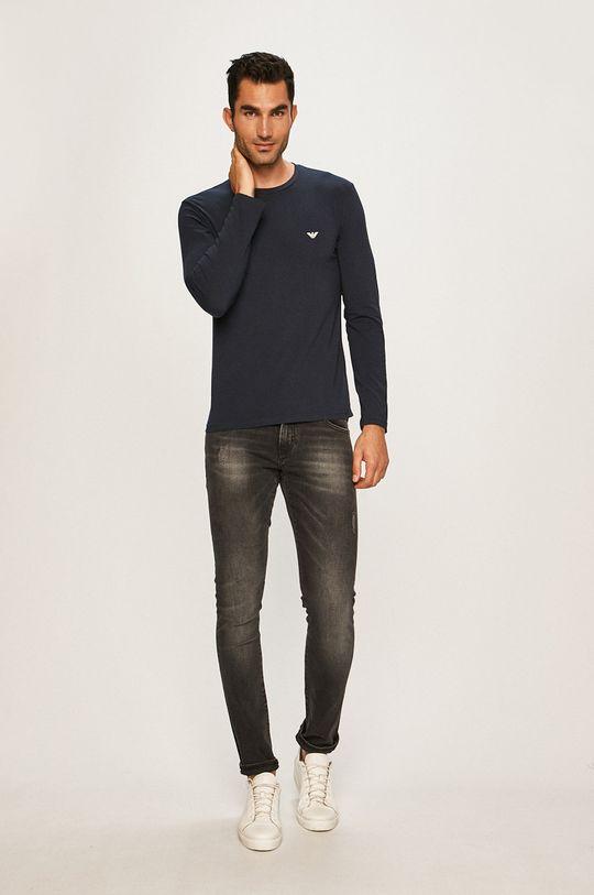 Emporio Armani - Pánske tričko s dlhým rúkavom tmavomodrá