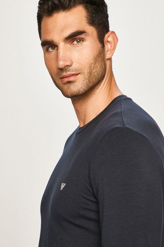 tmavomodrá Emporio Armani - Pánske tričko s dlhým rúkavom