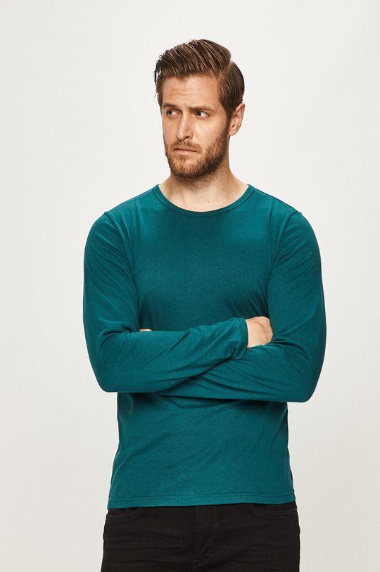 tyrkysová modrá s. Oliver - Pánske tričko s dlhým rukávom Pánsky