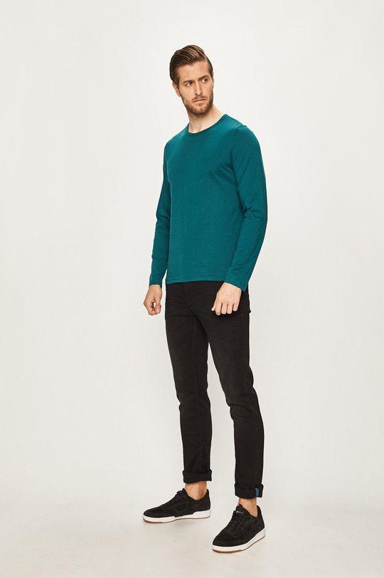 s. Oliver - Pánske tričko s dlhým rukávom tyrkysová modrá