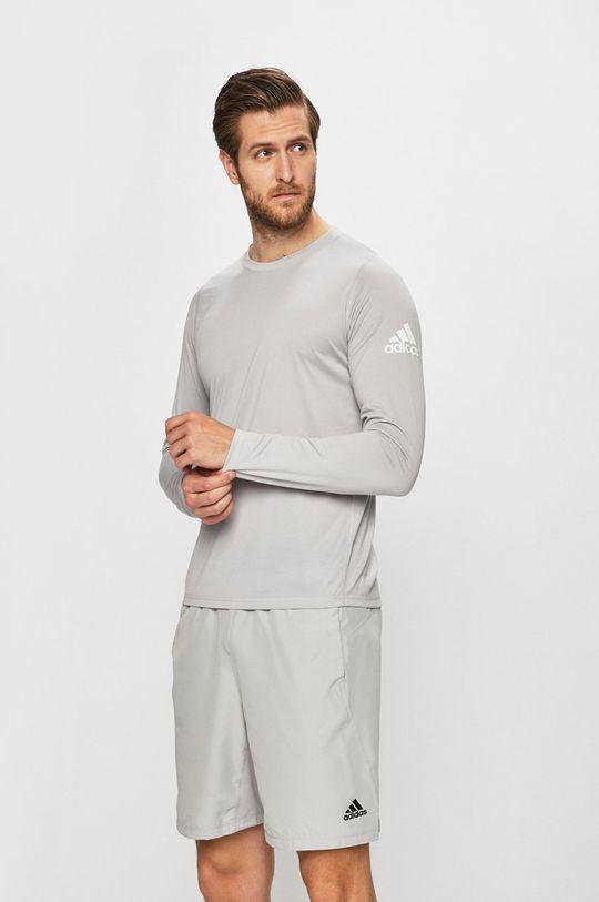 světle šedá adidas Performance - Tričko s dlouhým rukávem Pánský