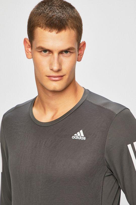 šedá adidas Performance - Tričko s dlouhým rukávem