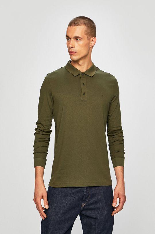 tlumená zelená Calvin Klein - Tričko s dlouhým rukávem Pánský