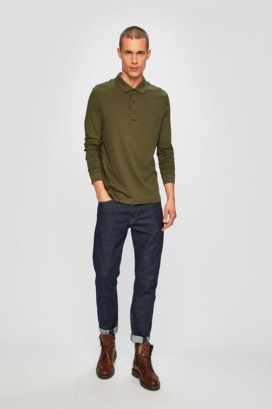 Calvin Klein - Tričko s dlouhým rukávem tlumená zelená