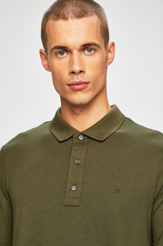 tlumená zelená Calvin Klein - Tričko s dlouhým rukávem