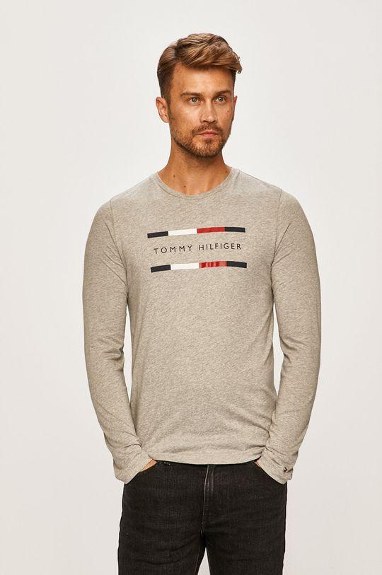 svetlosivá Tommy Hilfiger - Pánske tričko s dlhým rúkavom Pánsky