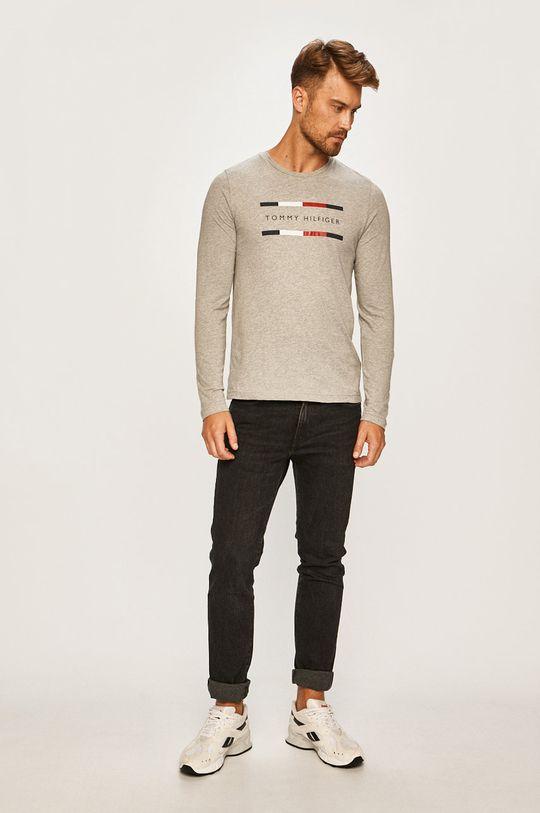 Tommy Hilfiger - Pánske tričko s dlhým rúkavom svetlosivá