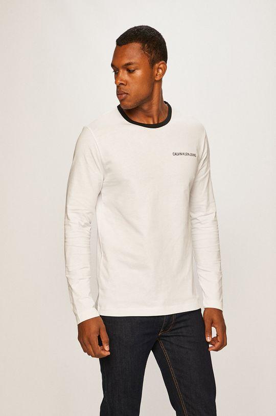 biela Calvin Klein Jeans - Pánske tričko s dlhým rúkavom Pánsky