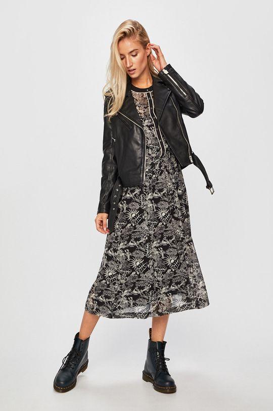 Pepe Jeans - Kožená bunda černá