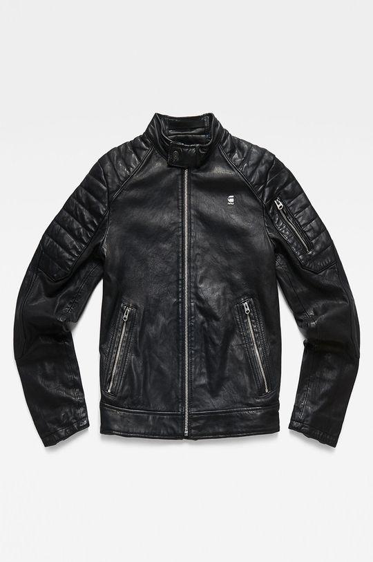 čierna G-Star Raw - Kožená bunda Pánsky