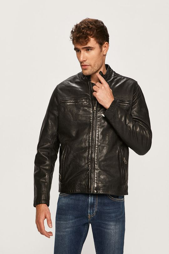 čierna Pepe Jeans - Kožená bunda Dannys Pánsky