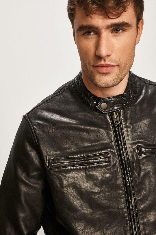čierna Pepe Jeans - Kožená bunda Dannys