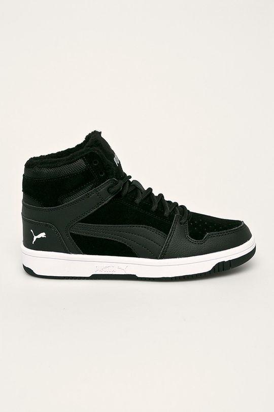 čierna Puma - Detské topánky Rebound Layup Fur SD Chlapčenský