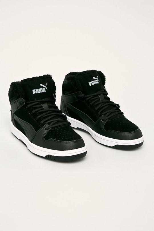 Puma - Detské topánky Rebound Layup Fur SD čierna