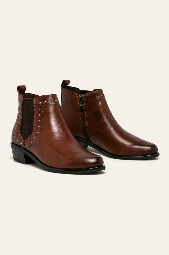 Caprice - Členkové topánky hnedá