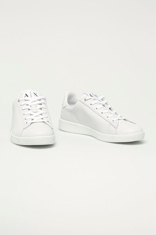 Armani Exchange - Kožená obuv biela