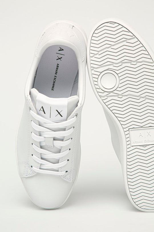 biela Armani Exchange - Kožená obuv