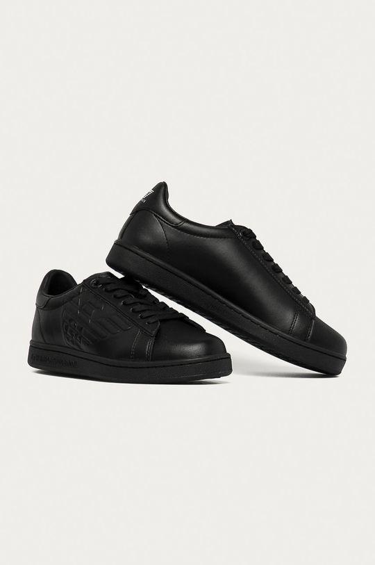 EA7 Emporio Armani - Kožená obuv čierna