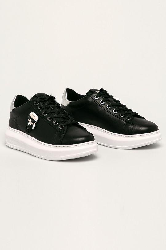 Karl Lagerfeld - Kožená obuv čierna