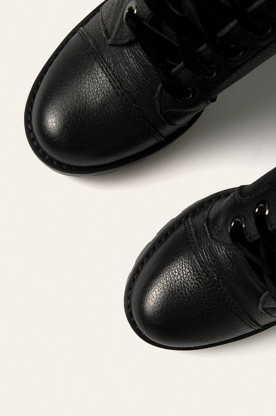 hnedá Guess Jeans - Kožené členkové topánky