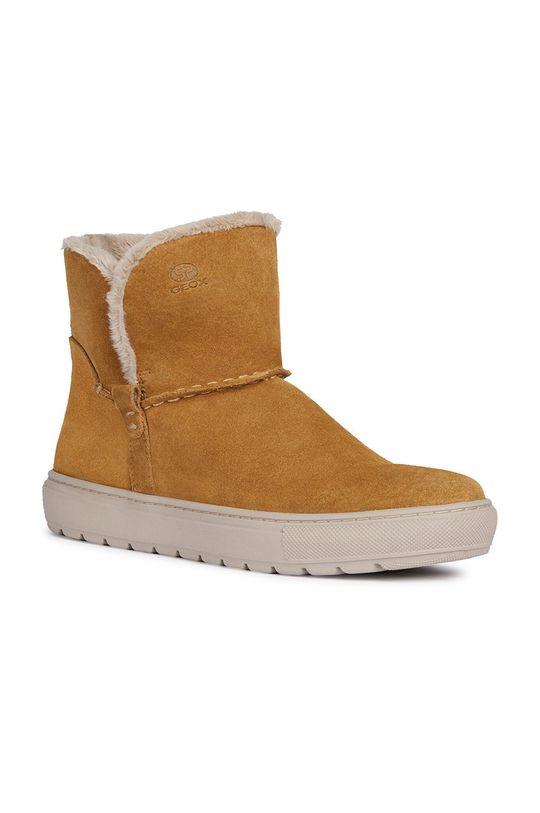 Geox - Členkové topánky zlatohnedá